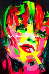 Livraison Gratuite Coloré Peint À La Main Peintures À L'huile Mur Photo Sexy Lady Figure Portrait Peintures À L'huile Abstrait Gens Sur Toile ? partir de fabricateur