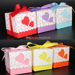 Wholesale Wedding Boxs - Wedding Boxes Gift box Candy box DIY chocolate boxes favor holders 5cm*5cm*5cm Love Heart Silk ribbon Wedding Favors boxs Free Shipping