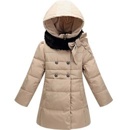 Wholesale Outerwear Children Coat Double Breasted - 2015 Winter Down Jacket For Girls Double Breasted Bowknot Fur Collar Winter Coat Children Outerwear Parka Retail 1PC