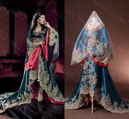 Wholesale Embroidery Muslim Dress Abaya Kaftan - Real Picture 2015 Dubai Kaftan Appliqued Long Evening Gowns Caftan Abaya In Dubai Long Sleeve Arabic Dress Muslim Evening Dress