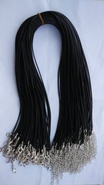 Wholesale Rope Wax - Wholesale 60PCS lots 2MM Black wax Cotton Cord 45CM Necklace Lobster Clasp Chains plus extendsion Chain Accessories For Jewelry DIY Making