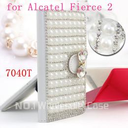 Wholesale Diamond Leather Flip Phone Cover - 3D Luxury Bling for Alcatel One Touch Fierce 2 7040T Flip Bling leahter skin bag mobile phone case cover Diamond crystal holder wallet