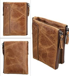 Wholesale Crazy Horse Purses - Crazy Horse Genuine Leather Men Wallets Credit Business Card Holders Double Zipper Cowhide Leather Wallet Purse