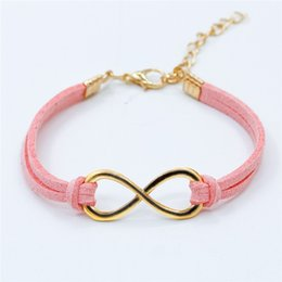 Wholesale Cheap Cross Charms - Wholesale- L103 Hot European Cheap Punk Fashion Vintage Infinity 8 Cross Leather Bracelets For Women Gift Bangles Men Jewelry pulseras