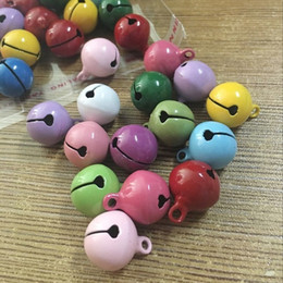 Wholesale Christmas Bell Crafts - Wholesale- Mixed Colors 14mm Jingle Bell Charm Festival Christmas Decor Jewelry Craft Pendants