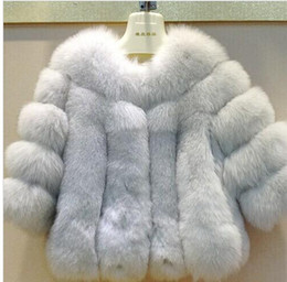 Wholesale Red Fox Fur Coats - 2018 New Fashion Winter Fur Jacket Woman Fox Fur Coat For Women's Furs Coats Women Warmest Ladies Overcoat free shipping