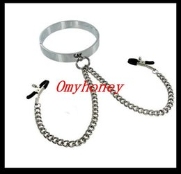 Wholesale Male Steel Sex Nipples - new stainless steel bondage male collar with nipple clamps, sex toys for men, chastity devices belt,SM435
