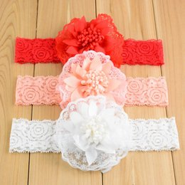 Wholesale Chiffon Rose Bows - Infant Lace Chiffon Flower Headbands 11 colors Rose Silk Bowknot Baby Hair Band Headwear Children Satin Ribbon Hair Bows Hair Accessories