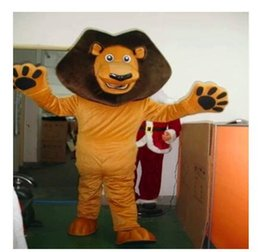 Wholesale Top Selling Cartoon Character Costume - custom made Madagascar Top Selling Alex Lion Mascot Costume Plush Cartoon Character Suit Adult Size Real Pictures Free EMS Shipping