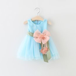 Wholesale Toddler Big Tutu - Wholesale- 7~24M Baby Girls Dress Big Bowknot Infant Party Dress For Toddler Girl First Brithday Baptism Clothes Double Formal Tutu Dresses