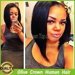 Wholesale Darker Black Cosplay - Full Lace Wig Short Bob Yaki Straight Glueless Human Hair Lace Front Wigs 100% Virgin Peruvian Remy Human Hair For Black Women