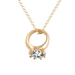 Wholesale Stellux Austrian Crystals - Gold Necklaces 18K Gold Plated Gold Stellux Austrian Crystals Paved Pendant Necklace