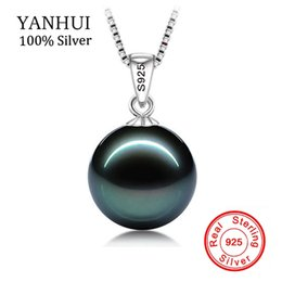 green pearl big chain Promo Codes - Big 90 %Off !! Original Flawless Black Pearl Pendant Necklace With Solid 925 Silver Chain Necklace Wedding Jewelry For Women N001