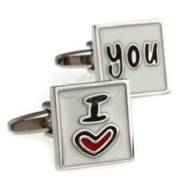Wholesale Epoxy Square - Metal multicolor I LOVE YOU cufflinks square cufflinks AE8166 Epoxy Technology