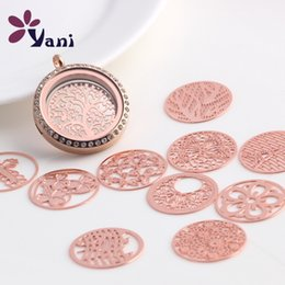 Wholesale Rose Gold Floating Locket Wholesale - Retro hollow silver and rose gold wafer jewelry accessories for DIY Necklace or Bracelets Glass floating lockets