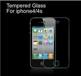 Wholesale Iphone 4s Screen Lcd - For iPhone4 4s Good quality Tempered Glass Film LCD Guard Explosion Proof Screen Protector Protective Film