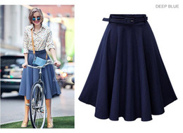 Wholesale Cheap Wash Clothes - dark jean skirt for teens ladies casual dress clothing spring summer cheap dresses elegant elastic waist vintage skirts washed soft denim