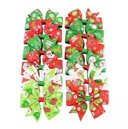Wholesale Christmas Hair Clips Kids - 3 inches Baby Girls' Hair Bow Grosgrain Ribbon Santa Christmas Boutique Clips For Kids Babies Children Toddlers