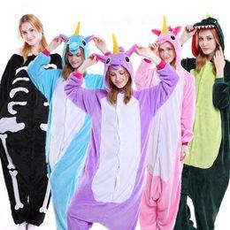 Wholesale Dinosaur Pajamas - Cartoon Flannel Unicorn Warm Pajamas Kids Pikachu Unicorn One-piece Home Cosplay Nightwear Dinosaur Stitch Pajamas CCA7988 10pcs