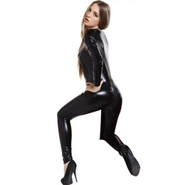 Wholesale Halloween Adult Fancy Dress - Adult Sexy Wetlook Catwoman Jumpsuit And Rompers Spandex Catsuit Bodysuit Fancy Dress Hen Party Halloween Costumes For Women