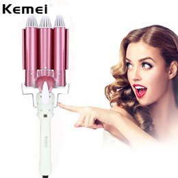 hair wand curls Promo Codes - Kemei 2017 Hot Sell Hair Curling Irons KM-926 Hair Waver Triple Curler Ceramic Perm Rolls Magic Wand Styling Tools Pink