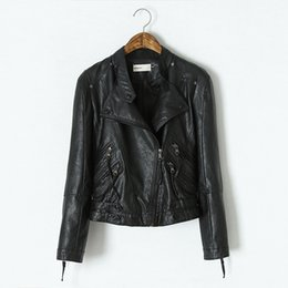 Wholesale Womens Jackets Leather - PU Leather Jacket Women Clothes 2015 Faux Turn-Down Collor Female Jackets Womens Slim Coats Plus Size Feminino Chaquetas Mujer