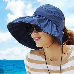 Wholesale Large Folded Straw Hats - Wholesale-Anti-uv big beach sun hat folding hat 2015 Summer Women's Ladies' Foldable Wide Large Brim Beach Hat Sun Straw Hat Cap