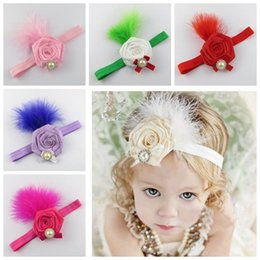 Wholesale Rosette Headband Feather - baby rolled rosette flowers hair accessories christmas headbands for girls kids feather pearls head bands ribbon elastic hairband boutique