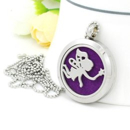 """Wholesale Girl Magnets - Angel girl Aromatherapy Essential Oil Diffuser 316L Stainless Steel Locket Pendant Necklace magnet close with 20"""" Chain and 5pads X044"""