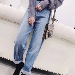 Wholesale Fly Online - European and American online celebrity Jeans High waist wide curl loose Jeans plus size BF style Pants casual jeans