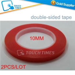 Atacado-2 pçs / lote Frete Grátis 10mm Vermelho Fino Transparente Dupla Face Adesiva Força de Super Cola Vara Fita Dupla Face de