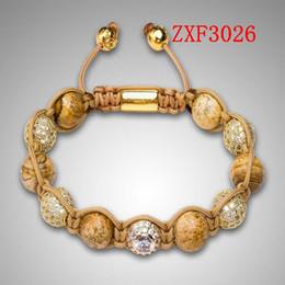 Wholesale Stone Balls Beads - Nialaya Bracelet Shamballa natural stone Large eye alloy Drill the ball powder Weave Bead Gold-plated made Adjustable Bracelet Free shipping