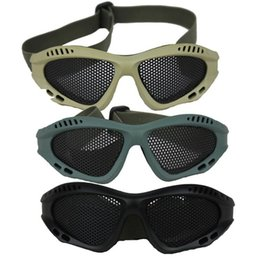 Wholesale Man Steel Cycling - Men Cycling Eyewear Outdoor Sports Tactical Goggles Protection glasses Hot Pro Steel Mesh Airsoft Protective Goggles JE24 Multi
