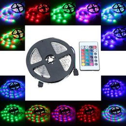 Wholesale Ir Light Bar - Wholesale- LED RGB Strip Light SMD 3528 Flexible Light 60LEDs m 5m lot with 24key IR Remote Controller &Plug for Bar Hotel Restaurant