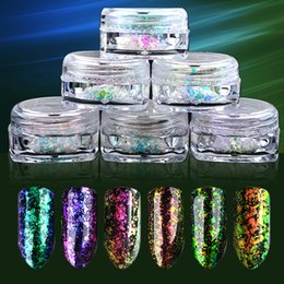 Wholesale Chameleon Powder - Colorful Diamonds Chameleon Flakes Magic Effect Flakes Multi Chrome Nail Powder Glitter Sequins Nail Art Gel Nail Polish Manicure