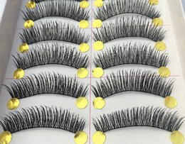 Wholesale taiwan false eyelashes wholesale - Taiwan pure manual false eyelash Thick 217 encryption The simulation Black cotton stalk eyelashes 10box 100pairs lot