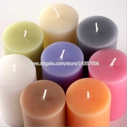 Wholesale Candles Wax Wedding Favors - Romantic Colorful Smokeless Wax Pillar Candle Classical Scented Aromatic Candle Party Wedding Favors Valentine's Gifts 6x10cm