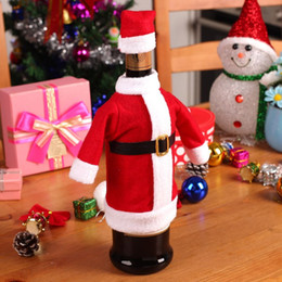Wholesale Wine Bottle Clothing - 2pcs  Set Christmas Decoration Red Wine Bottle Covers Clothes With Hats For Home Christmas Dinner Party Or Gift