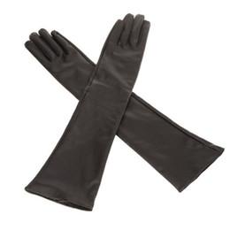 Wholesale Ladies Black Leather Gloves - Wholesale- HOT SALE!Women's Ladies' Long Soft Artificial Leather Gloves--Black