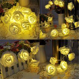 Wholesale White Party Lanterns - Valentine's Day birthday party 20 LED battery box light string rose flower style decorative lantern string lights wholesale