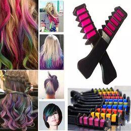 Wholesale Hair Chalk Set Dhl - 2017 hot Mini Hair Color Comb 6 Colors Set Fashion Permanent Chalk Powder With Comb Temporary Hair Mascara Free DHL