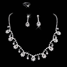 Wholesale Ear Rings Set - 2016 Bridal Jewelry Wedding Bridal Crystal Rhinestone Accessories Necklace and Earring Ear Clip type Ring Sets Silver Plated In Stock