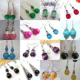 Wholesale Tibetan Jade Earrings - beautiful Tibetan Tibet silver jade earrings