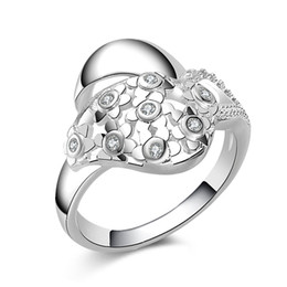 Wholesale fresh side - Free Shipping New 925 Sterling Silver fashion jewelry Plum small fresh with White Diamond With Pave zircon ring hot sell girl gift 1735