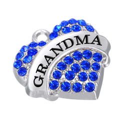 """Wholesale Living Lockets For Sale - Wholesale Sale Silver Plated """"GRANDMA"""" Colorful Twinkling Rhinestone Heart Pendant Charms For Necklace or Living Locket"""