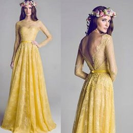 Wholesale One Shoulder New Bridesmaid Dress - 2015 New Illusion Neckline Backless Yellow Lace A-Line Long sleeve Prom Dress Evening Gowns Bridesmaid Party Dresses Celebrity Dress Gradu