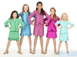 Wholesale Kids Skirt Shirt Design - 2015 New Design 2pc Girls Kids Interview Skirt Suits Pageant Suits Custom Made Pageant Dresses