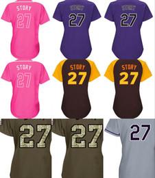 Wholesale Colorado Shorts - Women's Colorado Jerseys 27 Trevor Story Baseball Jerseys Ladies Shirt White Blue Grey Pink Fashion Stitched Size S-2XL