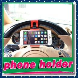 Wholesale Car Holder For Iphone 4s - Universal Car Steering Wheel phone scoket Holder Cradle Streeling smart Clip Car Bike Mount Stand for iphone 6 plus 5S 4s cellphone GPS