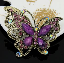 Wholesale Crystal Grape Wholesale - Top grade 2015 Clear Grape Wedding Korean Brooches for women Crystal Rhinestone Butterfly Brooch Pins for party jewelry sets wholesale